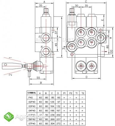 Rozdzielacz hydrauliczny 5 sekcyjny 40L - zdjęcie 1