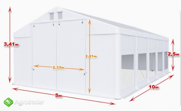 Całoroczna Hala namiotowa 5m × 10m × 2,5m/3,41m