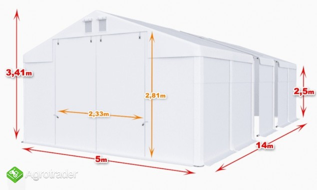 Magazyn CAŁOROCZNA HALA NAMIOTOWA 5m × 14m × 2,5m/3,41m